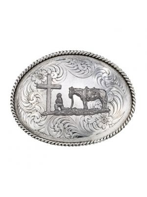 Montana Silversmiths Antiqued Medium Oval Classic Engraved Buckle with Christian Cowboy 1350RTS-731