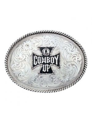 Montana Silversmiths 1350 Retro Series Western Belt Buckle with Cowboy Up St George Cross 1350-748