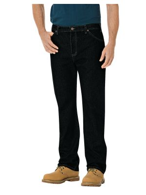 Dickies Regular Straight Fit 6-Pocket Denim Jean 14293 Rinsed Overdyed Black (RBB)