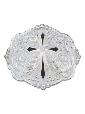 Montana Silversmiths Diamond Shaped Cross with Silver Flourishes Western Belt Buckle 14319