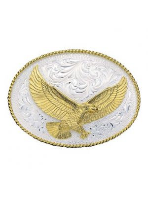 Montana Silversmiths Silver Engraved Western Belt Buckle with Large Eagle 1460