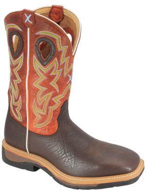 Twisted X Men's Orange Lite Cowboy Work Boots 050X64
