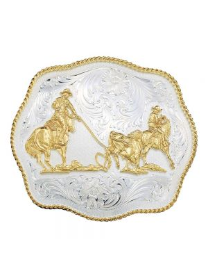 Montana Silversmiths Scalloped Western Belt Buckle with Team Ropers 1930
