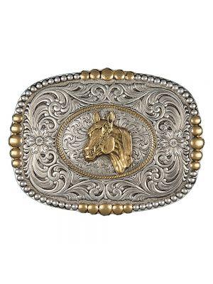 Montana Silversmiths  Heirloom Gold Pioneer Portrait Buckle with Horsehead Portrait 2600RTG-44