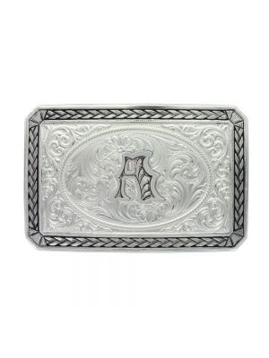 Montana Silversmiths Initial Antiqued Wheat Trim Portrait Buckle 27200D-A