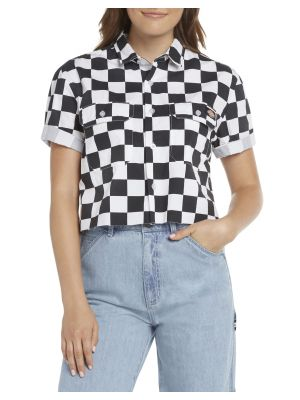 DICKIES WOMEN'S Checkered Short Sleeve Cropped Work Shirt L10029