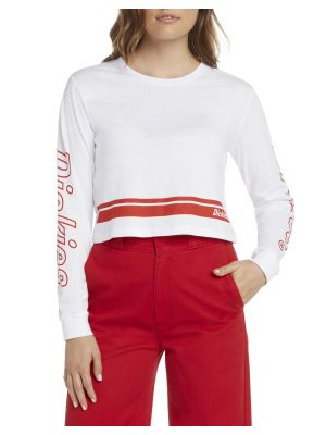DICKIES WOMEN'S Signature Striped Hem Long Sleeve Cropped T-Shirt L10048