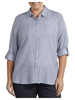 DICKIES WOMEN'S Plus Size Long Sleeve Button-Up Shirt FLW210