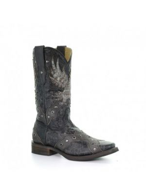 Corral Men's EAGLE OVERLAY & STUDS SQ. TOE A3372