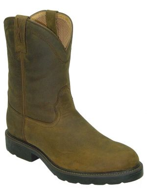 Twisted X Lite Distressed Pull-On Work Boots - Round Toe 050K04