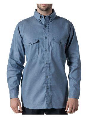 Walls Men's Flame Resistant Button-Down Chambray Work Shirt 56388