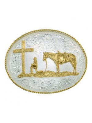 Montana Silversmiths Large Silver Engraved Western Belt Buckle with Christian Cowboy 61354