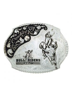 Montana Silversmiths Silver Cowboy Up Bull Riders Only Western Belt Buckle 61357