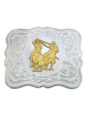 Montana Silversmiths Scalloped Silver Western Belt Buckle with Team Ropers 61669-841