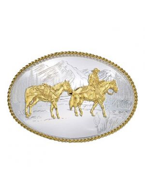 Montana Silversmiths Etched Mountains Western Belt Buckle with Pack Horse and Rider 6250-35