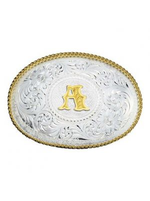 Montana Silversmiths Initial Silver Engraved Gold Trim Western Belt Buckle 700A