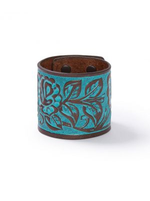 Stetson Wide Floral Tooled Wristband 9121S
