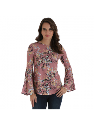 WRANGLER® WOMEN'S ALLOVER FLORAL PRINT TOP WITH TRUMPET SLEEVES LWK741M