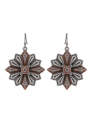 Rock 47 Points of Aztec Copper Accent Starburst Earrings ER2443CSR47