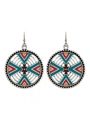 Rock 47 Points of Aztec Four Directions Earrings ER2701BR47