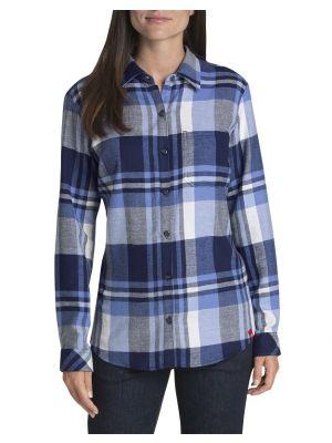 Dickies Women's Long Sleeve Plaid Flannel Shirt FL075