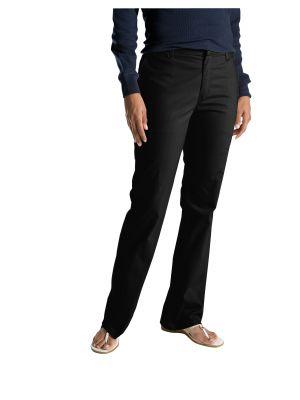 Dickies Women's Slim Fit Boot Cut Stretch Twill Pant FP121 Black (BK)