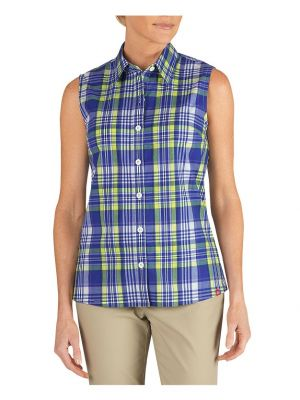 Dickies Women's Plaid Sleeveless Stretch Poplin Shirt FS088