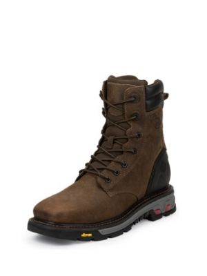 JUSTIN  MEN'S TOBACCO COMMANDER-X5™ WATERPROOF SQUARE STEEL TOE WORK BOOTS WK201