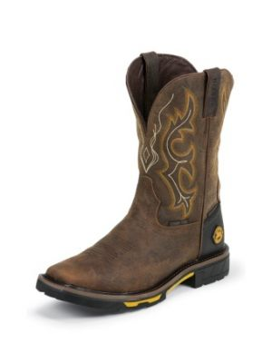 JUSTIN MEN'S RUSTIC BARNWOOD HYBRED® WATERPROOF COMPOSITION TOE WORK BOOTS WK4625