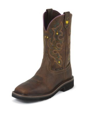 JUSTIN WOMEN'S RUGGED TAN STAMPEDE COMPOSITION TOE WORK BOOTS WKL4664