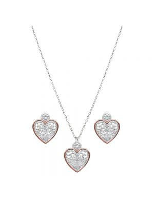 Montana Silversmiths Western Lace Copper Trimmed Classic Heart Jewelry Set JS2622SC