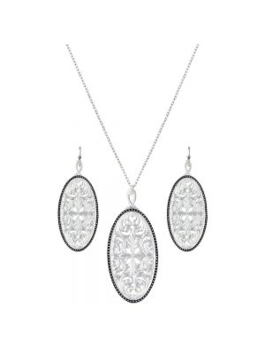 Montana Silversmiths Western Lace Framed Ellipse Window Jewelry Set JS2623