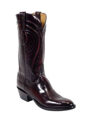 Lucchese Classic Black Cherry Brush Off Goat Cowboy Boot L1505