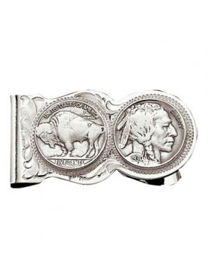 Montana Silversmiths Buffalo Indian Nickel Scalloped Money Clip MCL50