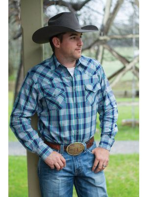 Cinch MENS BLUE PLAID DOUBLE-POCKET SNAP FRONT WESTERN SHIRT MTW1312013