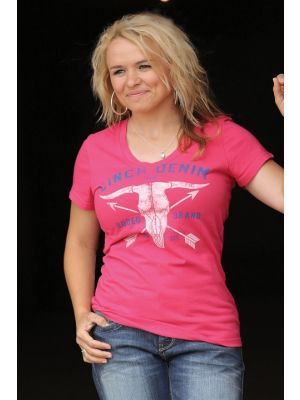 Cinch WOMENS PINK V-NECK TEE SHIRT MT1032083X