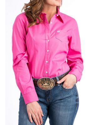 Cinch WOMENS SOLID PINK BUTTON-DOWN WESTERN SHIRT MSW9164033