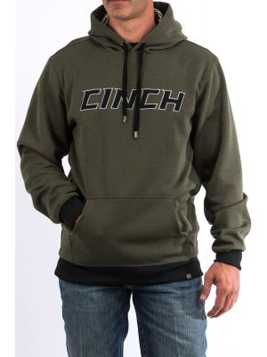 Cinch Mens Heathered Olive Poly Tech Fleece Hoodie MWK1206004