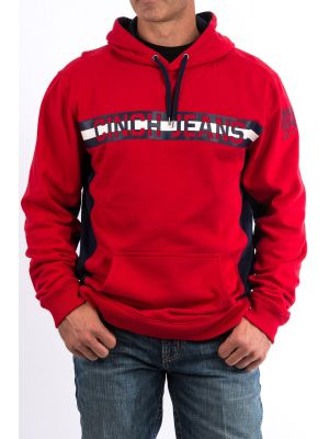 Cinch Mens Red and Navy Cotton-Poly Fleece Hoodie With Contrast Side Piecing MWK1218001