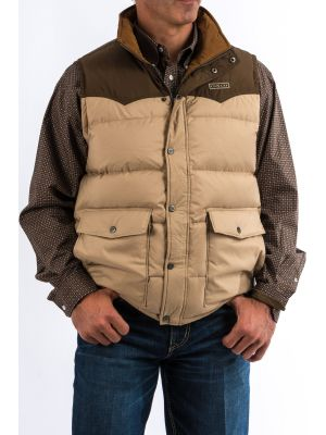 Cinch Mens Color Blocked Quilted Down Vest - Brown/Tan MWV1097001