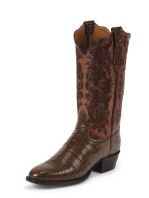 TONY LAMA MEN'S WHISKEY SIGNATURE SERIES™ NILE CROCODILE WESTERN BOOTS WITH HAND-TOOLED TOPS 1035